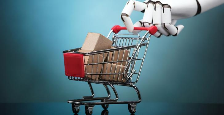 robot hand pushes shopping cart with packages