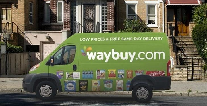 Green delivery van in front of a row of houses; copyright: Waybuy...