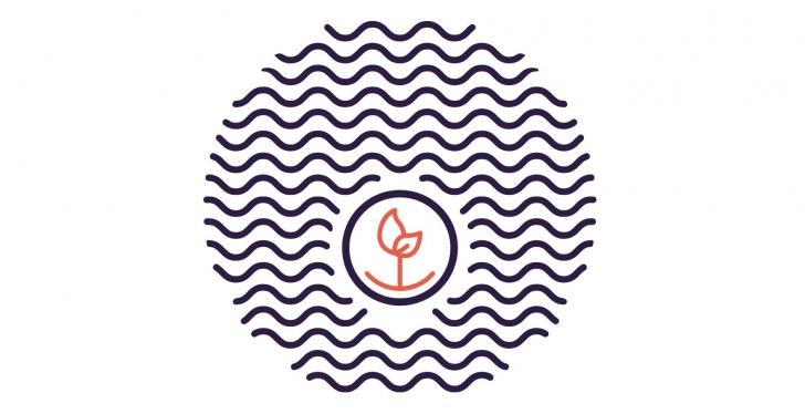 Simple graphic with a circle of waves with a small plant in the middle;...