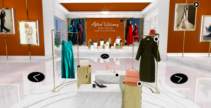 View into a virtual pop-up store