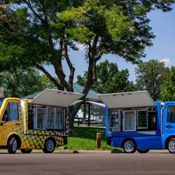 Thumbnail-Photo: Electric vehicles for safe on-the-go food distribution during pandemic...