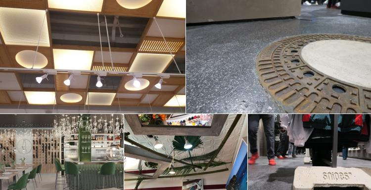 A collage of pictures of ceilings and floors in stores...