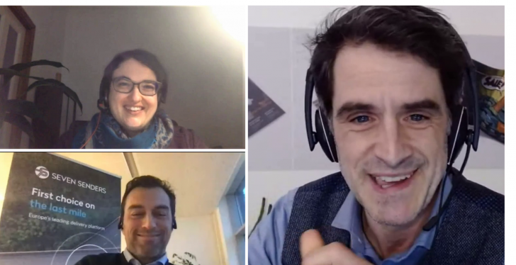 Two men and a woman in a video conference