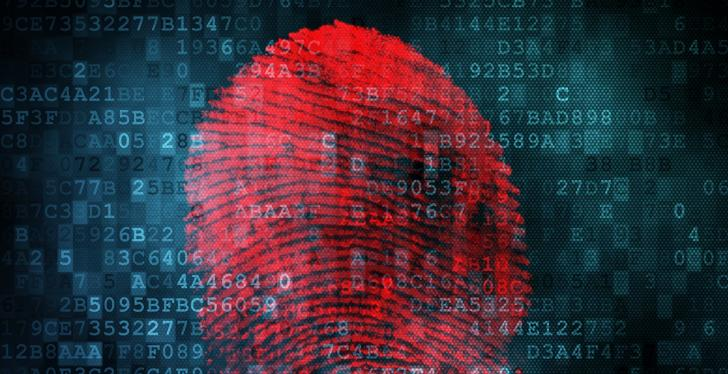 A red digital fingerprint in front of rows of numbers and letters; copyright:...