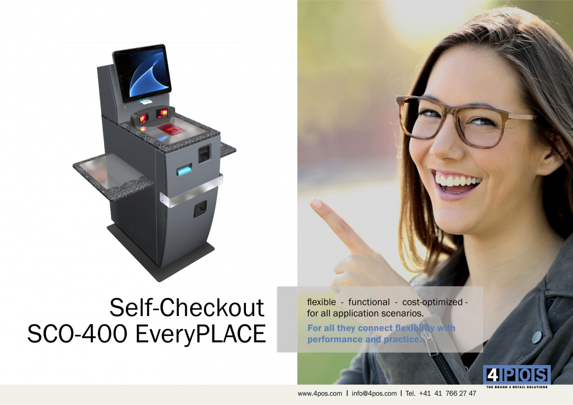 Photo: A SCO-400 EveryPLACE checkout device and a laughing women; copyright:...