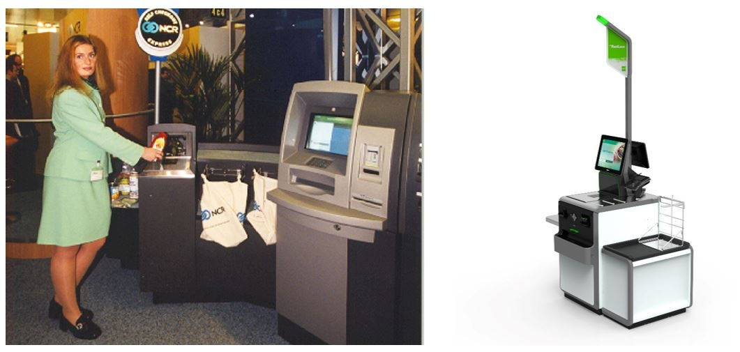 Photo: left: Woman at historical self-checkout terminal; right: self-service...