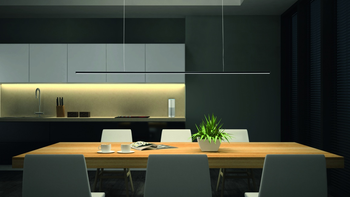 Modern kitchen with lights and voice assistant; copyright: Elektra...