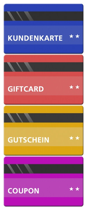 Graphic giftcards and voucher cards; copyright: Superdata...