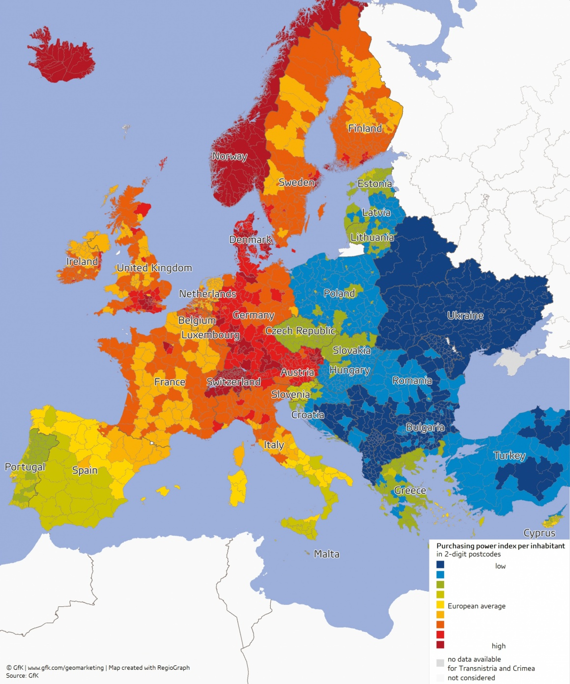 Colored graphic about purchasing power in Europe