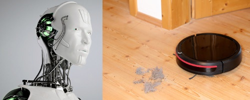On the left a modern humanoid robot head, on the right a vacuum cleaner robot...