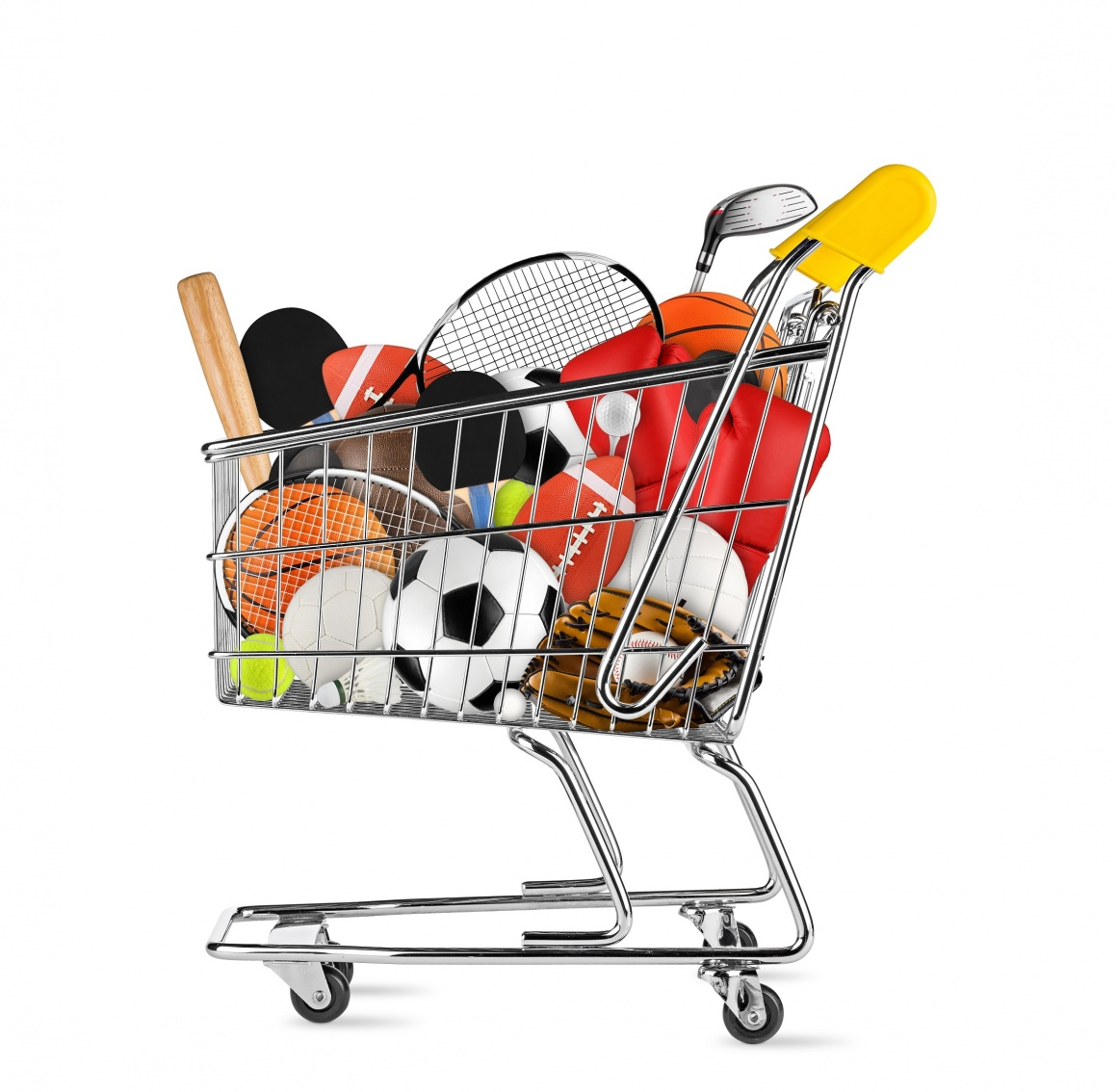 A filled shopping trolley on a white background