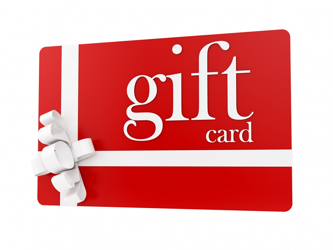 A red and white gift card with a ribbon