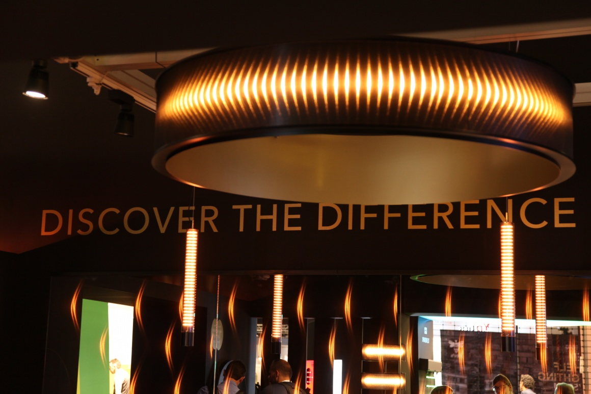 A booth and the illuminated lettering Make the difference....