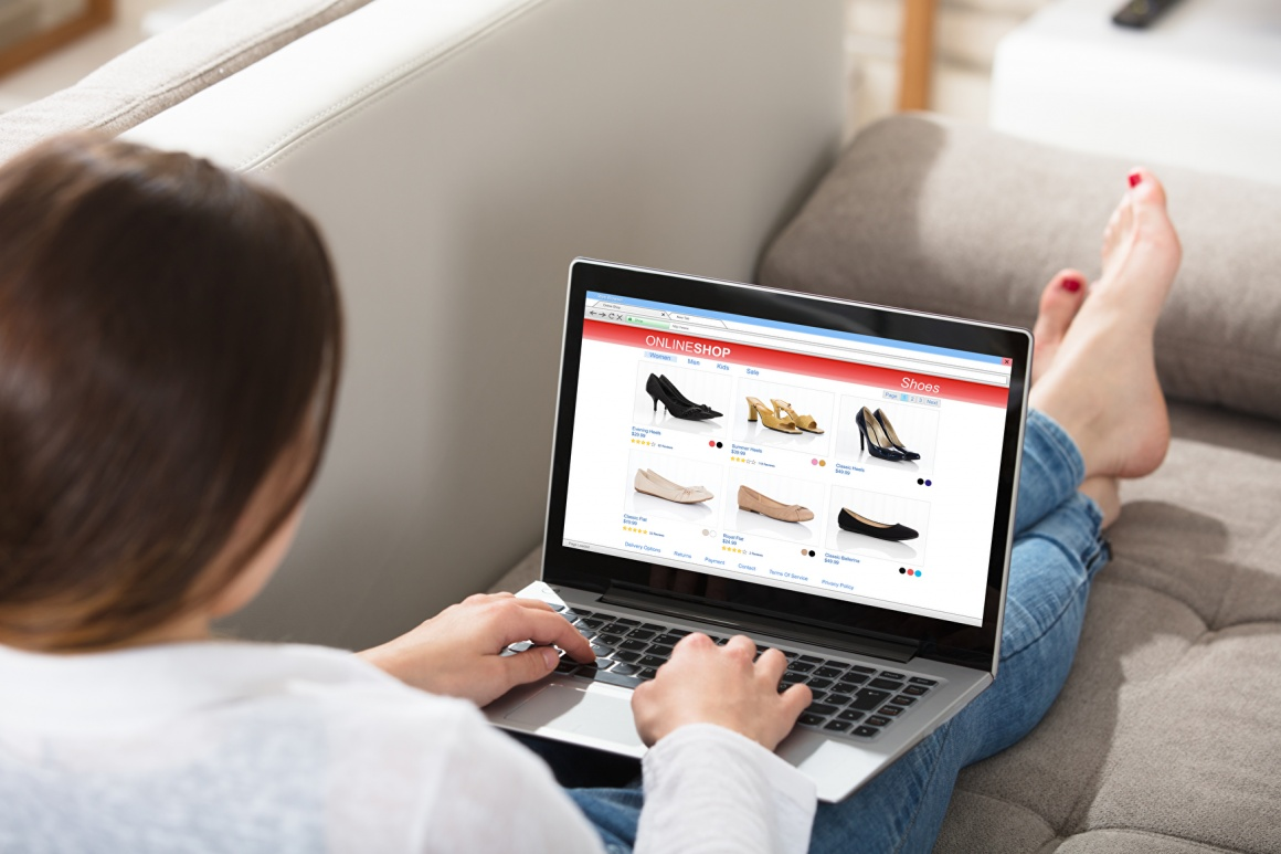 A woman shopping shoes online