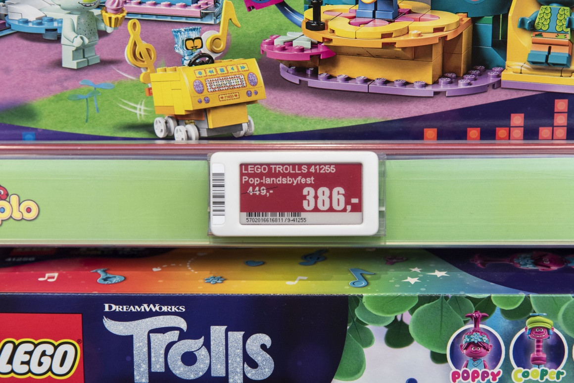 Price label on toy shelf