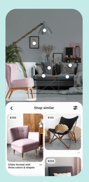 Part of the Pinterest app with pictures of furniture...