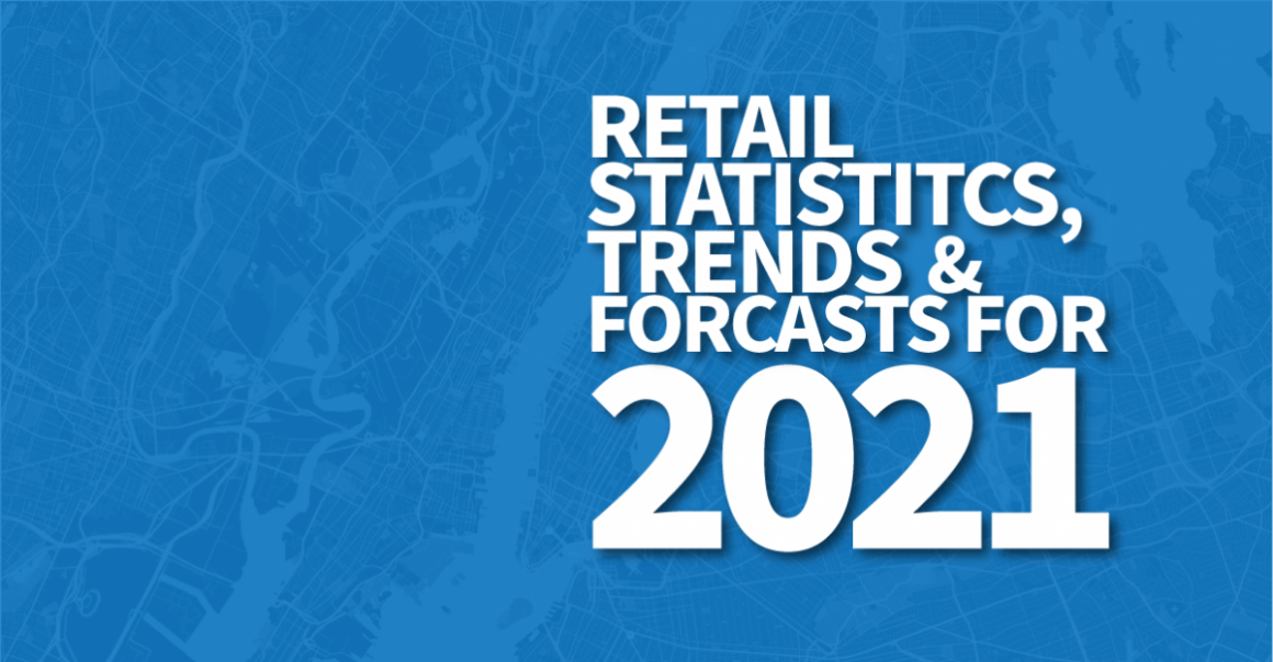 A blue online banner reading Retail statistics, trends and forecasts for 2021...