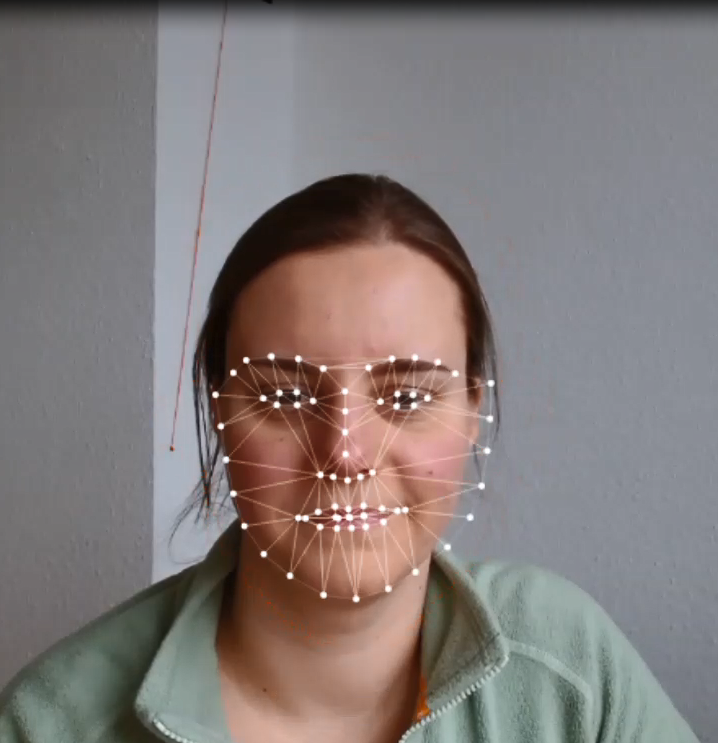 womens face covered with virtual buttons
